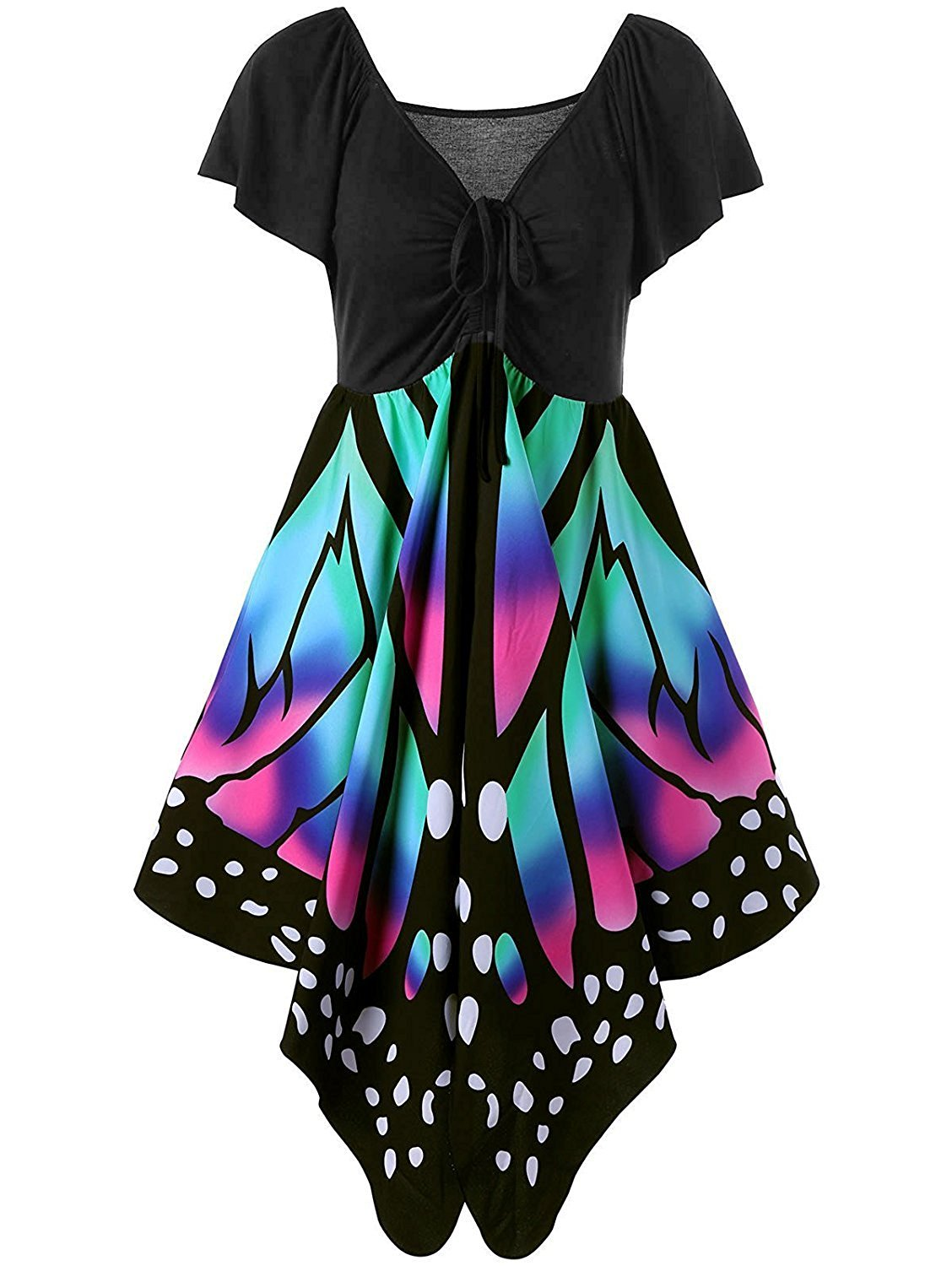 Available at Amazon: Imysty Plus Size Women's Butterfly Print Lace Up Short Sleeve Empire Waist V Neck Dress