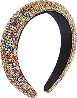 NLCAC Rhinestone Padded Headband Statement Bejewelled Wide Hair Hoop Rhinestone Embellished Fantasia Headband Party Headwear Hairband Hair Accessories (Colorful)