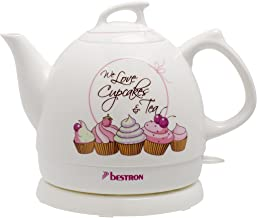 Bestron Wasserkocher im Retro Design, Sweet Dreams, 0,8 Liter, Ca. 1.800 W, Keramik, Weiß