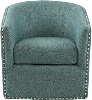 Madison Park Tyler Swivel Chair - Solid Wood, Plywood, Metal Base Accent Armchair Modern Classic Style Family Room Sofa Furniture, 28