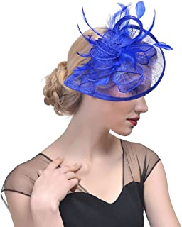 Penny Mesh Hat Fascinator with Mesh Ribbons and Black Feathers
