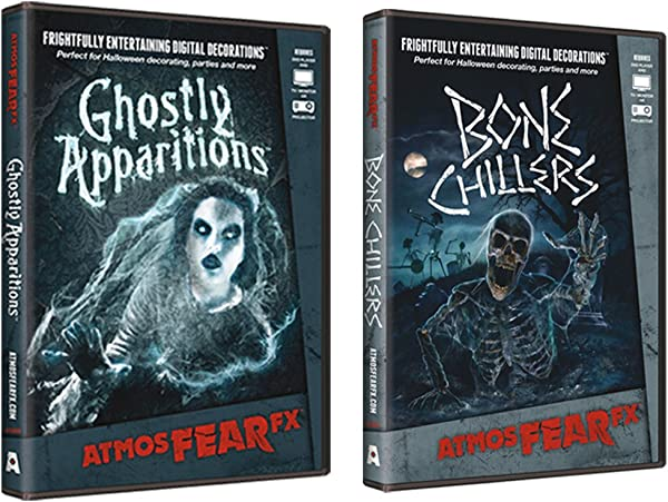 AtmosFear FX Ghostly Apparitions Bone Chillers DVD Super Combo For Virtual Halloween Window Projection Props