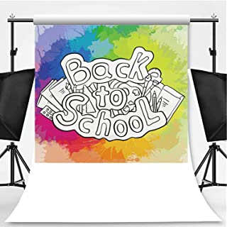 Doodle Text Back to School with Various School Supplies and Rainbow Watercolor Splashes Theme Backdrop Photography Backdrop for Pictures,027225,6.5x10ft