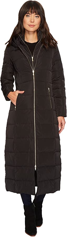 Cole Haan - Quilted Exposed Front Zip Long Coat w/ Oversized Hood