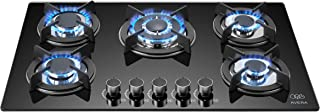 AVERA VT5 Parrilla a gas de Empotrar con 5 Quemadores en Vidrio Templado, color Negro. Estufa para cocina.