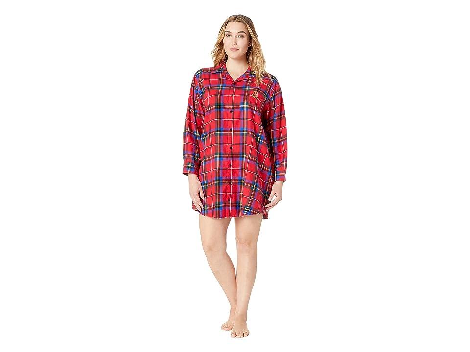 LAUREN Ralph Lauren Plus Size Brushed Twill His Shirt Sleepshirt (Red Plaid) Women