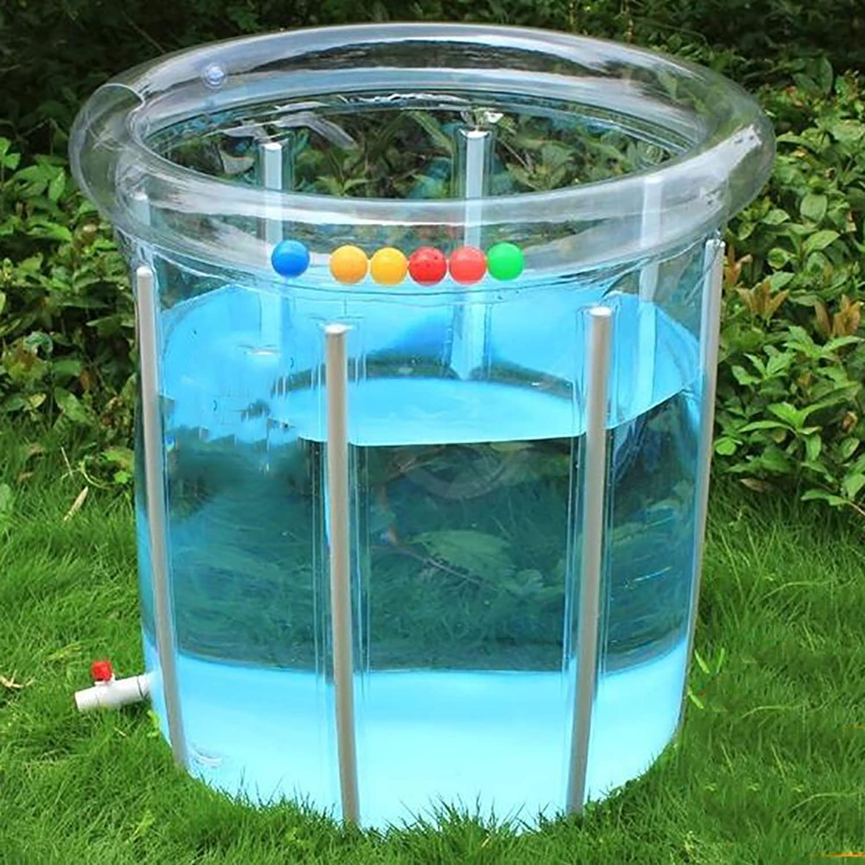 L&J Baby-schwimmbad Transparent Pvc Aufblasbare Baby planschbecken Verstellbar Aluminium-halterung-D 80x80cm(31x31inch)