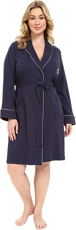 Plus Size Essentials Quilted Collar and Cuff Robe