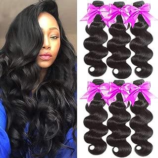 Flady Hair Brazilian Body Wave Virgin Hair 3 Bundles 100 Unprocessed Virgin Brazilian Hair Weave Natural Black Color 10A Human Hair Bundles (16 18 20inches)