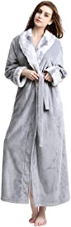 Women Long Robes Soft Fleece Winter Warm Housecoats Womens Bathrobe Dressing Gown Sleepwear Pajamas Top