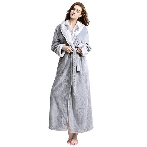 b66780ccbf Women Long Robes Soft Fleece Winter Warm Housecoats Womens Bathrobe  Dressing Gown Sleepwear Pajamas Top