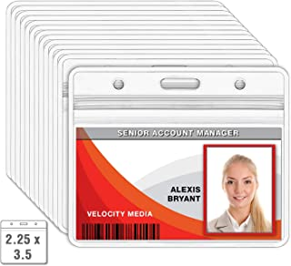 MIFFLIN Horizontal Badge Holder (Clear, 2.25 x 3.5 Inches, 10 Pack), Waterproof and Resealable Plastic Card Holders