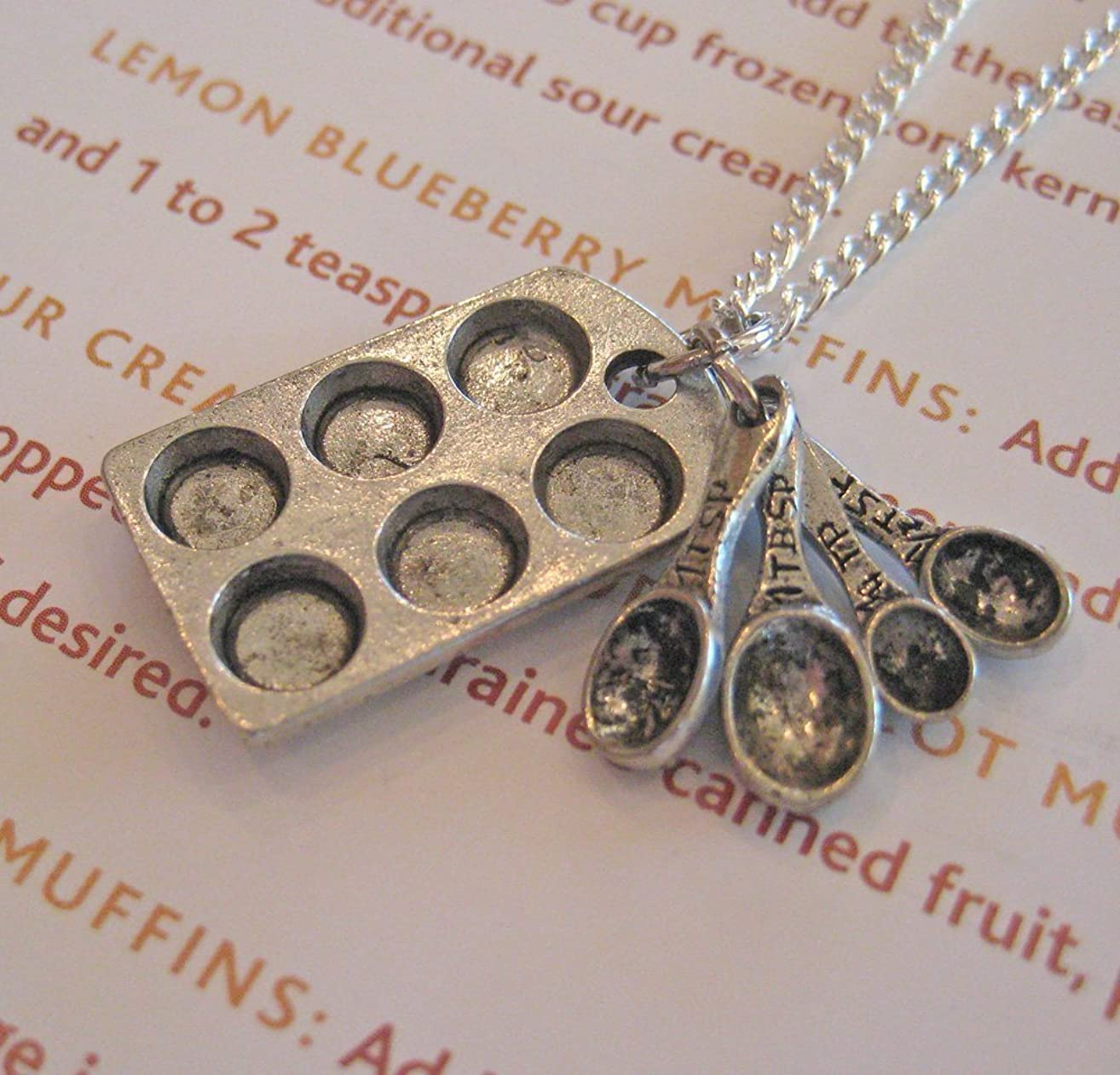 Muffin Pan & Measuring Spoons Necklace, Baker's Necklace, Cupcake Pan Necklace, Baking Themed Jewelry