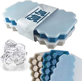 Sub Sar Ice Cube Tray Set (2 Pack)   BPA Free Safe   Honeycomb Shaped Silicone Ice Cube Tray Molds With Cover   74 Ice Cub...