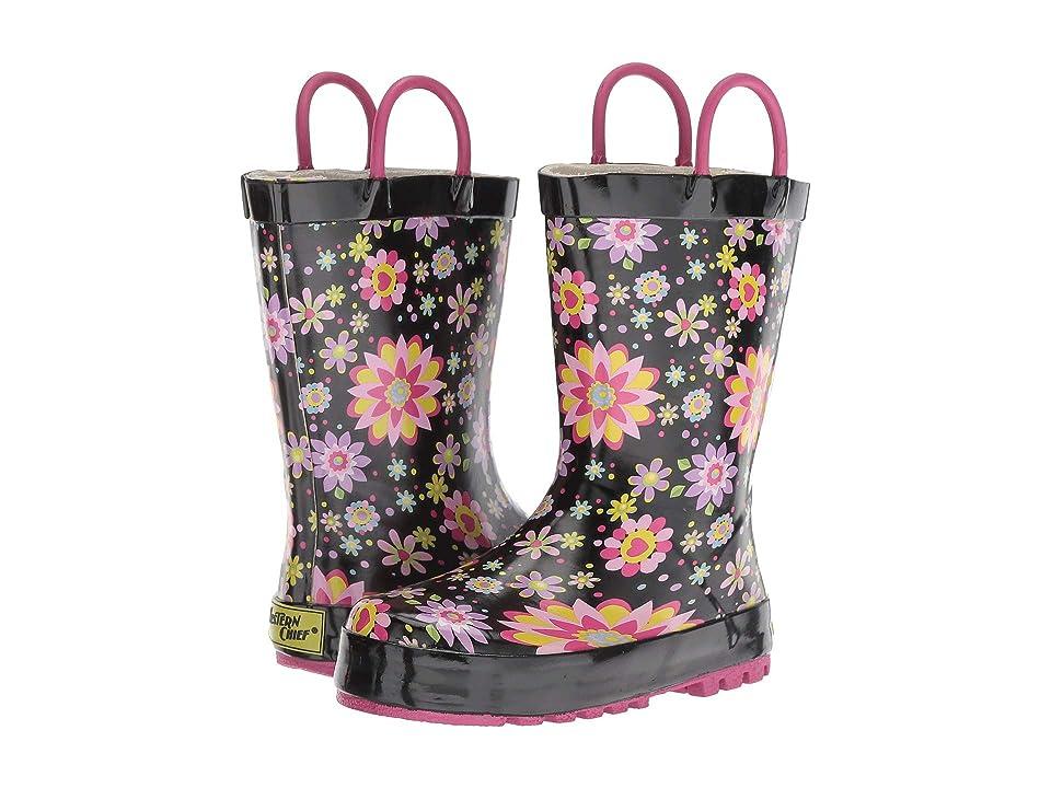 Western Chief Kids Floral Twirl (Toddler/Little Kid) (Black) Girls Shoes