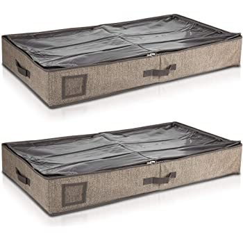 Navaris 2X Organizador para Debajo de la Cama - Cajas organizadoras para Guardar Ropa y Zapatos - Cajón Cierre y 2 Compartimentos marrón: Amazon.es: Hogar