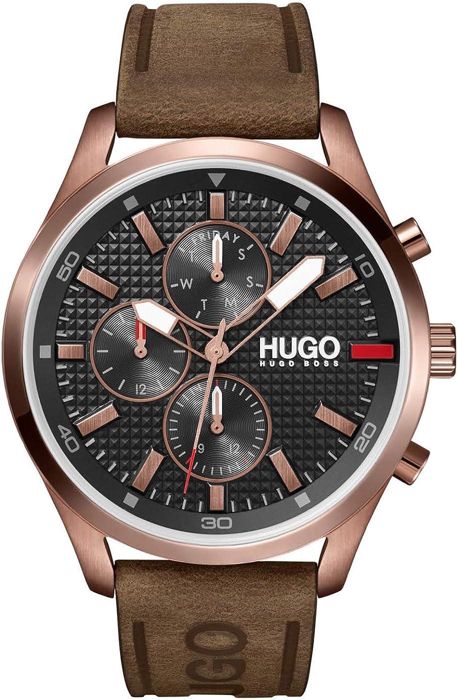 HUGO Reloj Analógico para Hombre de Cuarzo con Correa en Cuero 1530162