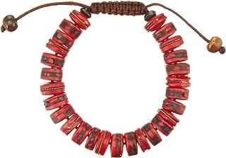 Hands Of Tibet Tibetan Mala Embedded Yak Bone Medicine Healing Wrist Mala Bracelet for Meditation
