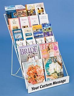 رف مجلة واير مع 6 طبقات مفتوحة، يحمل كلا المجلات والكتيبات، ويشمل قناة إشارة في الأمام - سلك أبيض