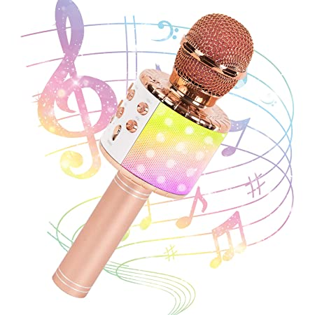 JMFinger Karaoke Microphone for Kids and Adults, Wireless Portable Handheld Bluetooth Microphone with LED Lights - Best Gifts (Rose Gold)