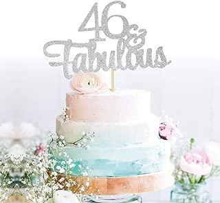GrantParty Glitter Silver 46&Fabulous Anniversary Cake Topper We Still Do 46th Vow Renewal Wedding Anniversary Cake Topper(46 Silver)