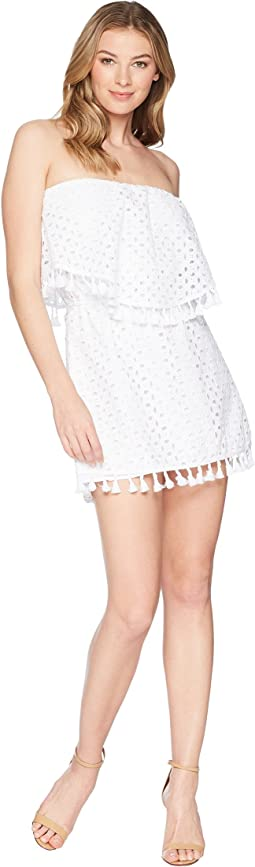 Leighton Eyelet Tube Dress with Tassel Trim