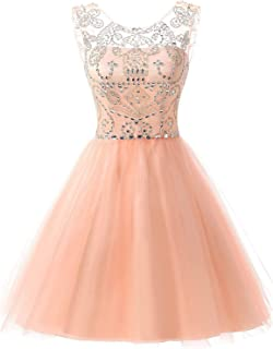 Sarahbridal Juniors Short Tulle Prom Dress Sweet 16 Beading Sequin Homecoming Gowns Blush US16
