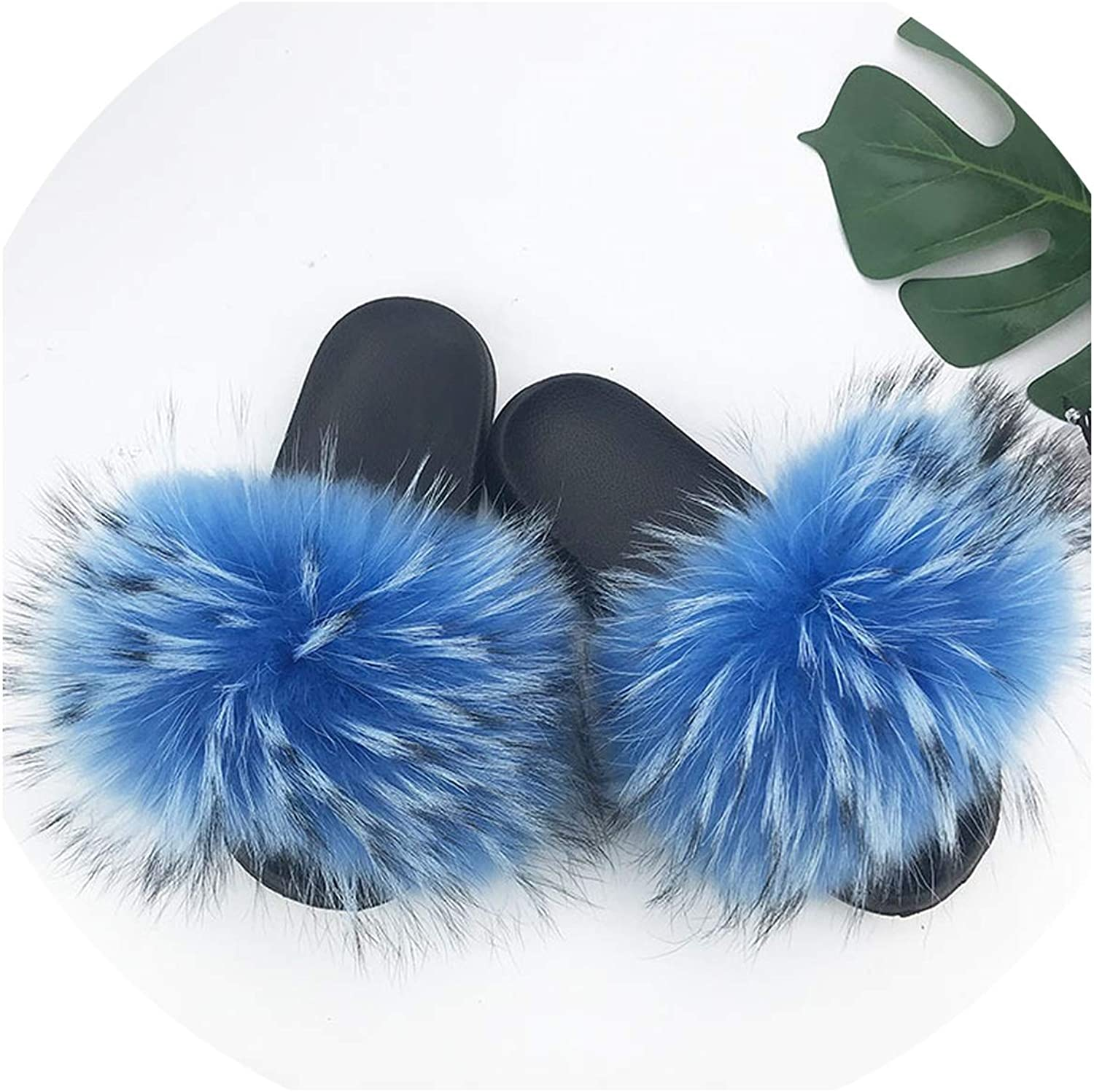 Just XiaoZhouZhou 28 colors Real Fur Slippers Women Fox Fluffy Sliders Comfort with Feathers Furry Summer Flats Sweet Ladies shoes Plus Size 36-45,4,7.5