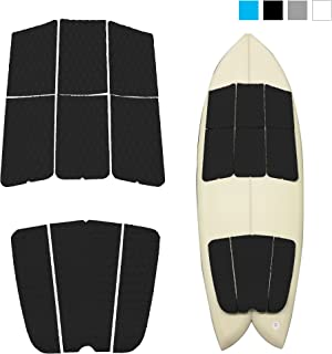 Abahub 9 Piece Surf Deck Traction Pad Premium EVA with Tail Kicker 3M Adhesive for Surfboard Longboard Shortboard Funboard Fish Skimboard Black/Blue/Gray/White/Orange/Navy Blue