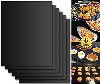Tapis de Cuisson Barbecue, Set de 6 Feuille de Cuisson pour Barbecue et Four - 40*33 cm Anti-adhérent de BBQ et Feuilles d...