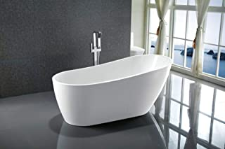 Vanity Art 55-inch Freestanding White Acrylic Bathtub   UPC certified Modern Stand Alone Soaking Tub with Polished Chrome Slotted Overflow & Pop-up Drain - VA6522-S