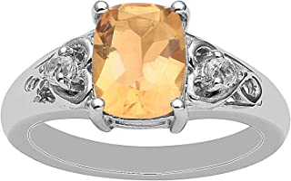 Madeira Citrine Gemstone 925 Sterling Silver Cocktail Cluster Split Shank Ring