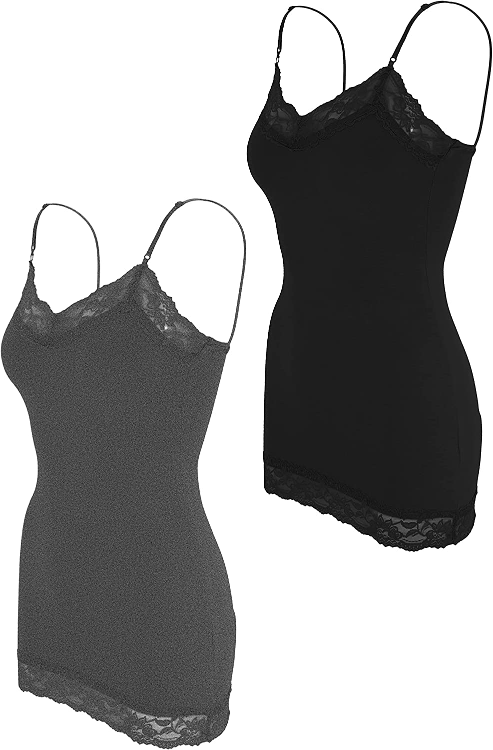 ClothingAve. Women's Lace Trim V-Neck Camisole Loungewear Undershirt Tank Top | Soft and Comfy | Value-Pack Available