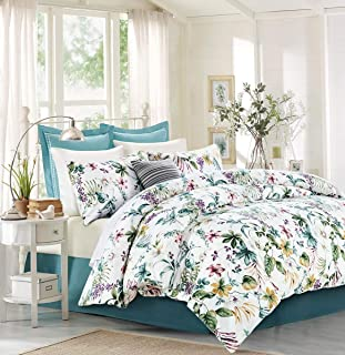 SexyTown Egyptian Cotton Duvet Cover Set,Floral Print Bedding Set 3-Piece King Floral G