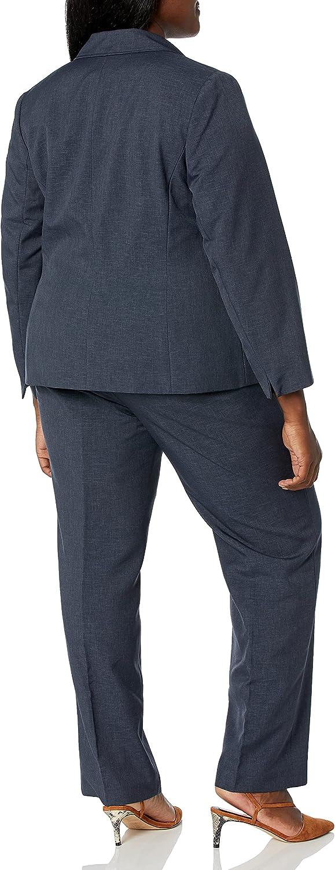 Le Suit Women's 1 Button Notch Collar Glazed Melange Pant Suit