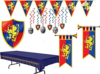 Medieval Party Decorations | Bundle Includes Herald Trumpets, Crest, Pennant Banner, Hanging Whirls, and a Tablecover