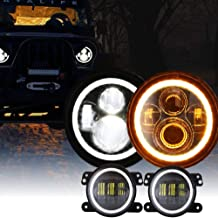 DOT 7 Inch LED Halo Headlights with Turn Signal Amber White DRL + 4 Inch Halo Fog Lights for Jeep Wrangler JK LJ CJ Sahara Sport Rubicon Headlamp