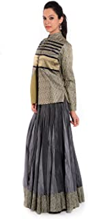 Geroo Jaipur Women's Brocade Embroidered Jacket with Silk Long Skirt Dress (Free Size, Grey)