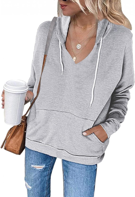 Toeava Women's Hoodie Sweatshirt Casual Long Sleeve V-neck Sweatshirt Drawstring Loose Jacket Coat with Pockets