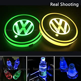Xunyuan 2pcs LED Car Logo Cup Holder Lights Coaster Volkswa-gen USB Charging 7 Colors Changing Auto Luminescent Cup Pad LED Interior Atmosphere Lamp Decoration Lights Accessories (Volkswa-gen)
