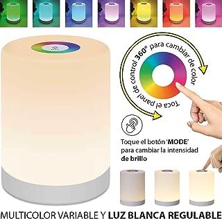 LedGalactic - Lámpara de Mesa portatil, Lámpara de Mesita de noche, Luz Nocturna Infantil LED, para Niños, de mesilla, Tactil Control, Colores Cambiable RGB, Recargable USB, Lámpara Habitacion