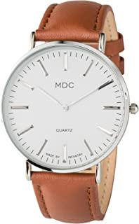 MDC Mens Minimalist Watch Genuine Leather Watches for Men Ultra Thin Dress Casual Business Quartz Analog Wristwatch
