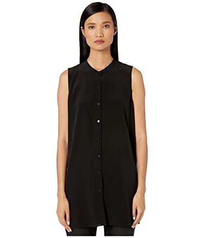 Eileen Fisher Silk Crepe De Chine Mandarin Collar Sleeves Long Top (Black) Women