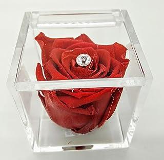 Rosa rossa eterna vera stabilizzata in cubo di plexiglass. Idea regalo handmade. Alta qualità. Originale regalo.