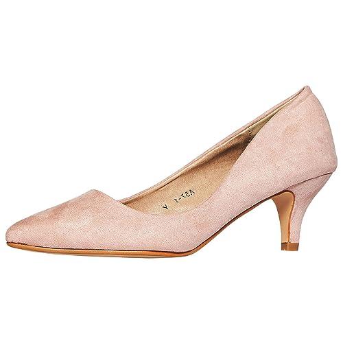 9330b5facba74 ByPublicDemand Miranda Womens Low Kitten Heel Slip On Pointed Toe Court  Shoes