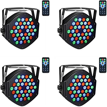 Par Lighting for Stage, 36x1W LED RGB 7 Channel with Remote for DJ KTV Disco Party (4 PCS)