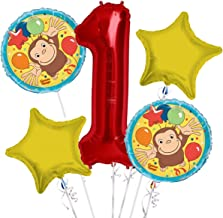 Curious George Balloon Bouquet 1st Birthday 5 pcs - Party Supplies