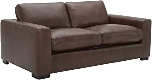 Amazon Brand - Stone & Beam Westview Extra-Deep Down-Filled Leather Loveseat Sofa Couch, 75.6