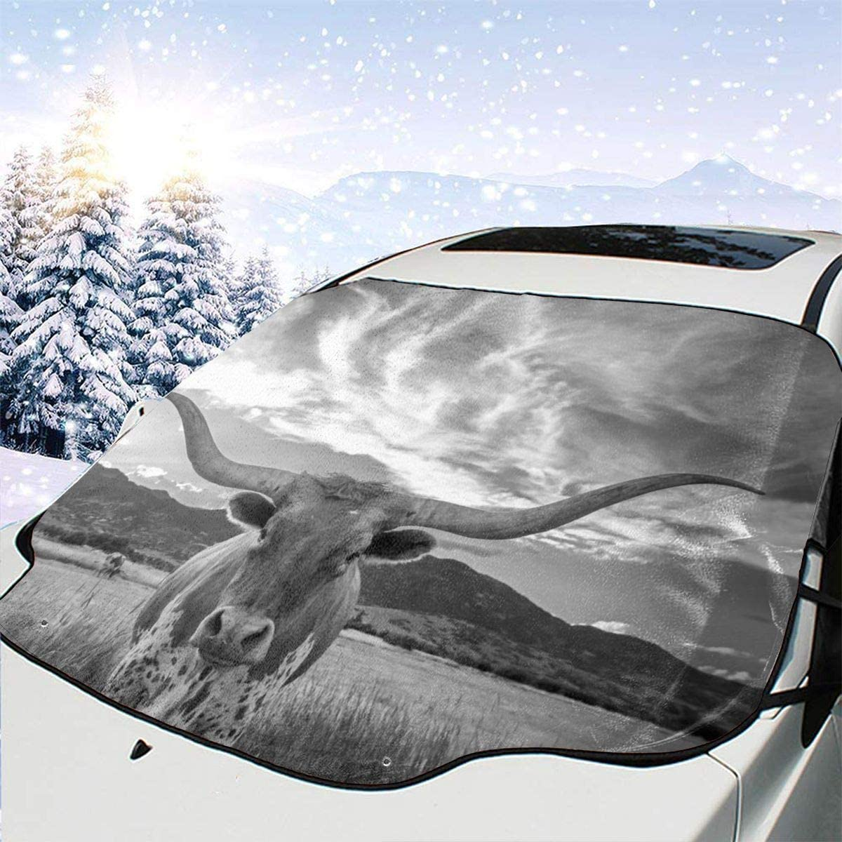 CheChenDengH Animal Texas Longhorn Car Windshield Snow Cover Shade with Magnetic Edges Blocks UV Rays Reflector for Extra Large Windshield Cover Fits All Season and Most Cars