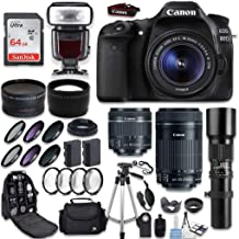 Canon EOS 80D DSLR Camera + Canon EF-S 18-55mm + Canon EF-S 55-250mm Lens & Telephoto 500mm f/8.0 + 0.43 Wide Angle Lens + 2.2 Telephoto Lens + Macro Filter Kit + 64GB Memory Card + Accessory Bundle
